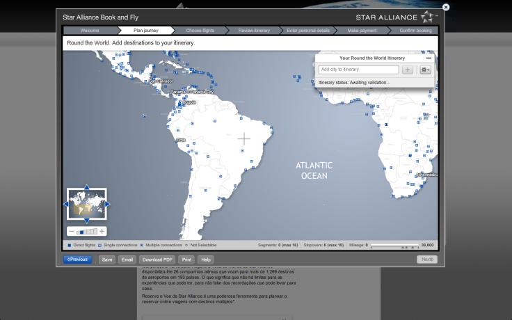 Site da Star Alliance para montar o trajeto com a passagem de volta ao mundo.